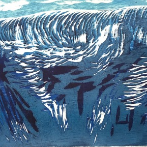 Ocean Thunder Series, 2018 11x15 Woodblock Reduction